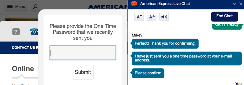 Enter One-Time Password During AMEX Live Chat