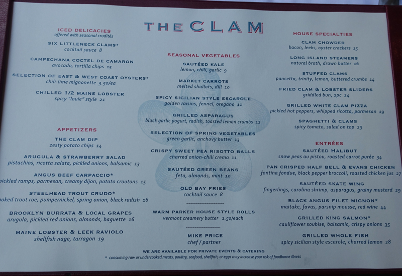 The Clam NYC Dinner Menu