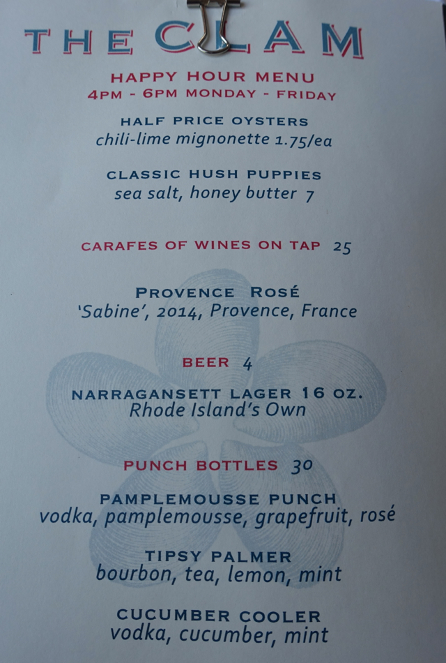 The Clam Happy Hour Menu