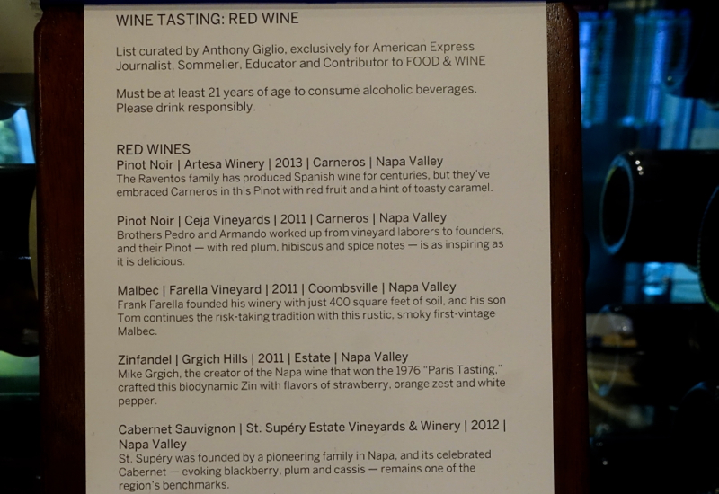 Red Wine List, AMEX Centurion Lounge San Francisco Review