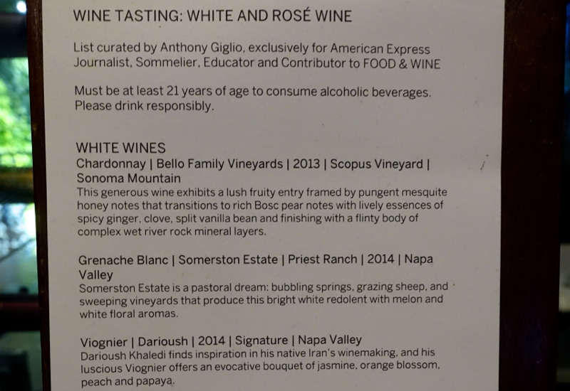 Wine List, White and Rose Wines, AMEX Centurion Lounge SFO Review