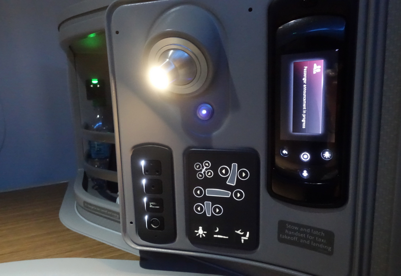 Seat Controls and Reading Light, American A321 First Class Review