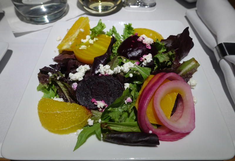 Beet and Goat Cheese Salad, American A321 First Class Review