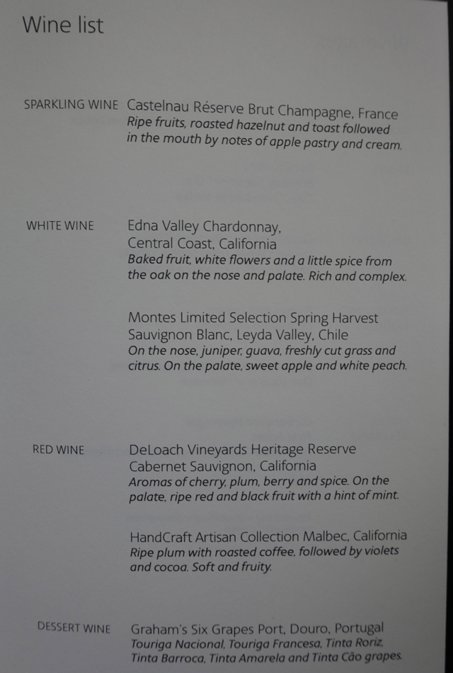 Wine List, American A321 First Class Review SFO to JFK