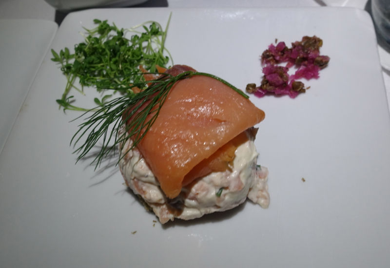 Smoked Salmon Appetizer, American A321 First Class Review