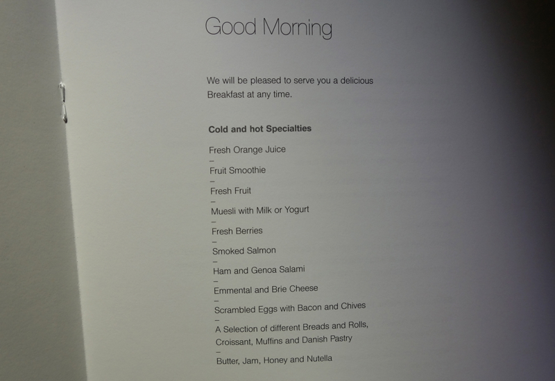 Lufthansa First Class Breakfast Menu