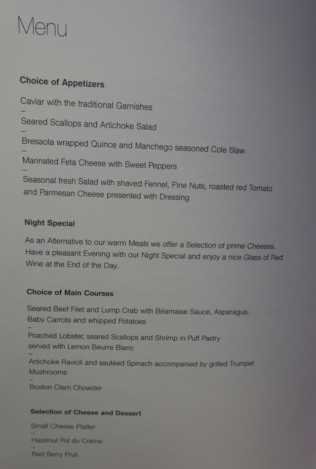 Lufthansa First Class Dinner Menu NYC to Frankfurt