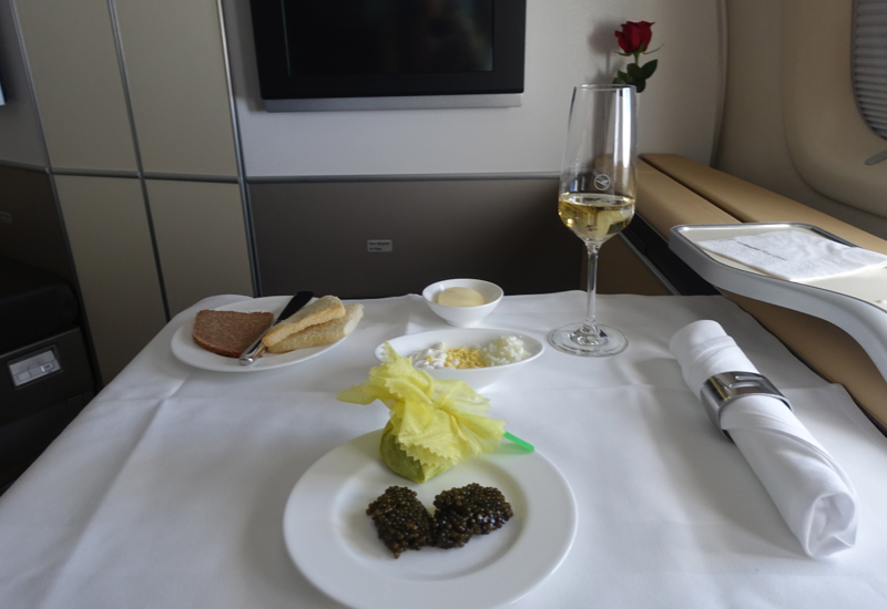 Lufthansa First Class Caviar Service, 747-8 Review