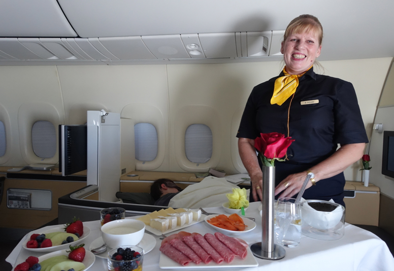 Lufthansa First Class Breakfast with a Smile!