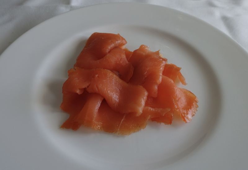 Smoked Salmon, Lufthansa First Class Review 747-8