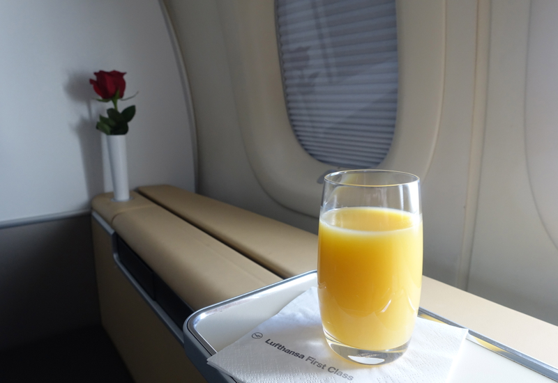 Orange Juice, Lufthansa First Class Review, 747-8