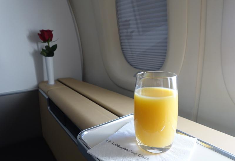 Orange Juice, Lufthansa First Class Review, 747-8