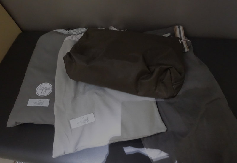 Lufthansa First Class Pajamas, Slippers, Amenity Kit Review