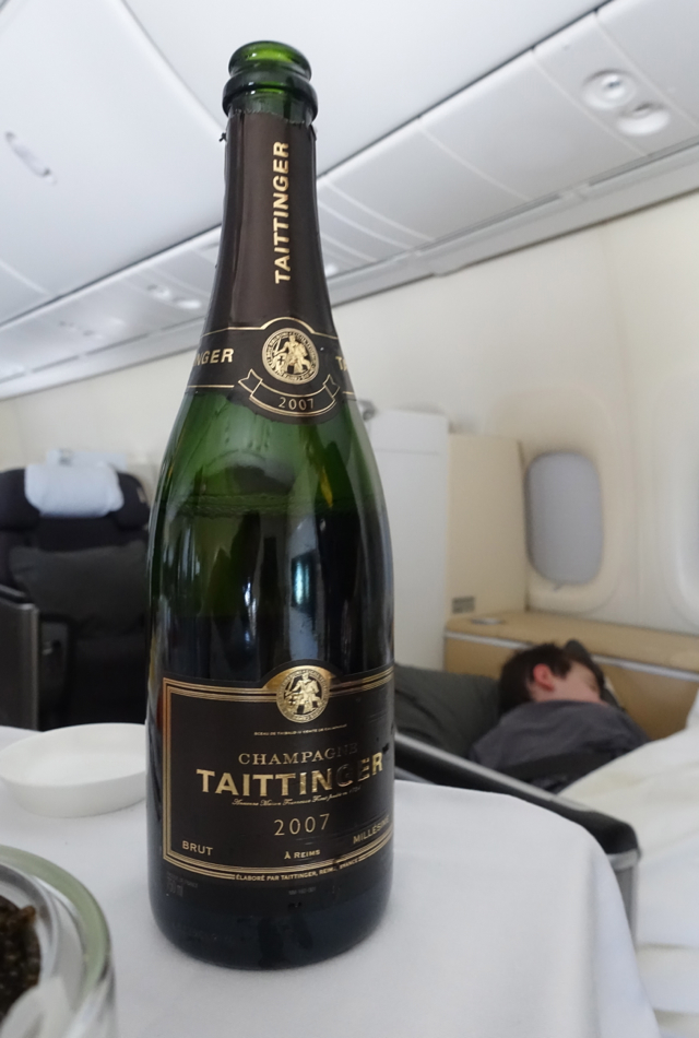Taittinger Champagne, Lufthansa First Class Review 747-8