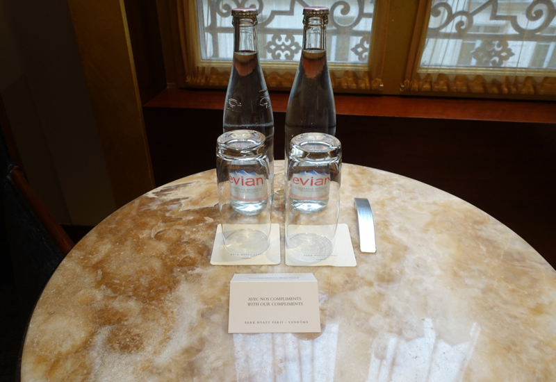 Evian Bottled Water Welcome Amenity, Park Hyatt Paris-Vendome Review