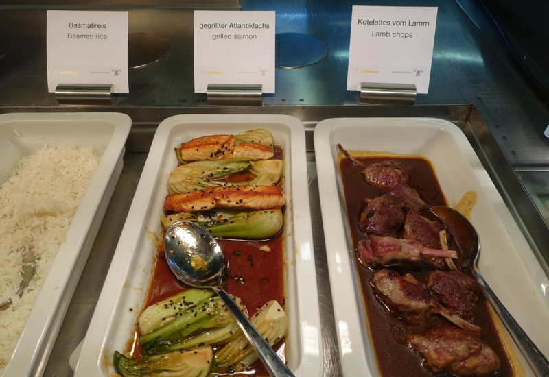 Salmon and Lamb Chops, Lufthansa First Class Terminal Review
