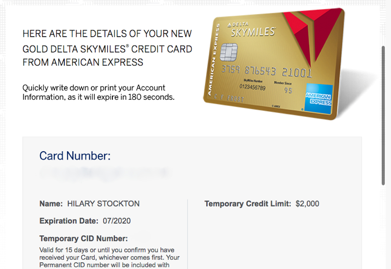 Amex Instant Account Number