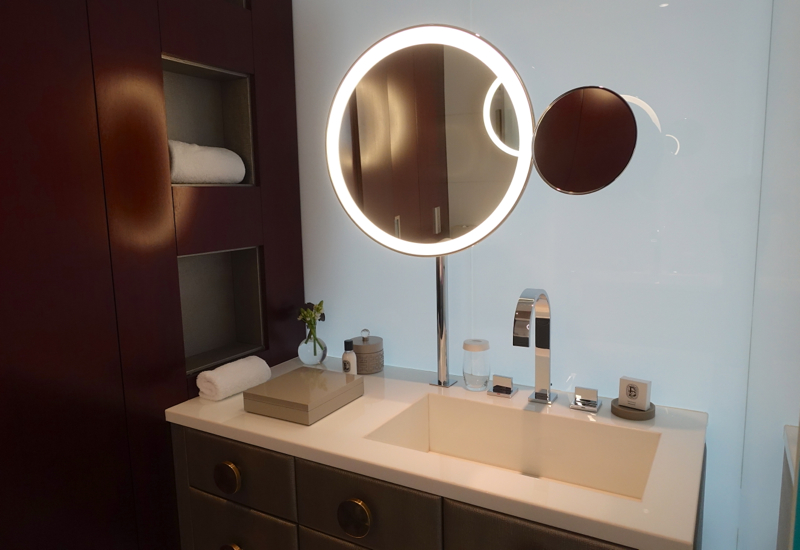 Mandarin Room Bathroom with His and Hers Sinks, Mandarin Oriental Paris Review