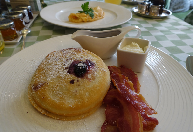 Blueberry Pancakes with Bacon, Milestone Hotel Breakfast Review