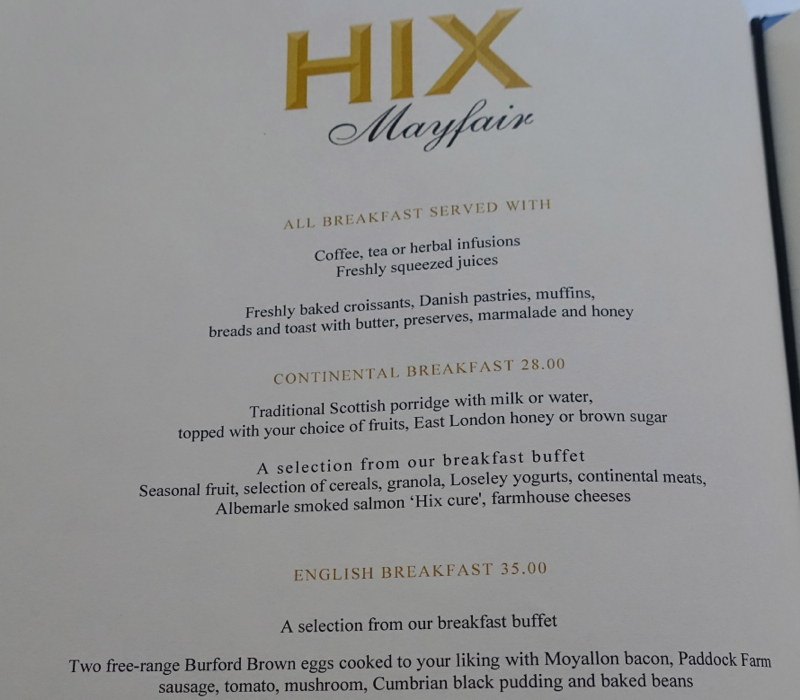 HIX Mayfair Breakfast Menu, Brown's Hotel