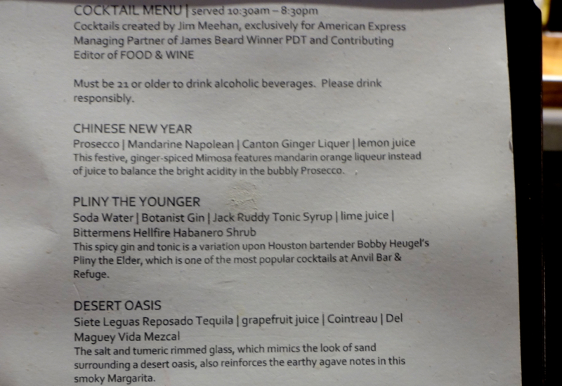 Cocktail Menu by Jim Meehan, AMEX Centurion Lounge Houston Review