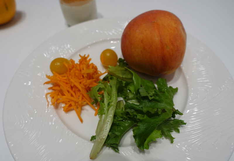 Salad and Fresh Peach, AMEX Centurion Lounge Houston Review