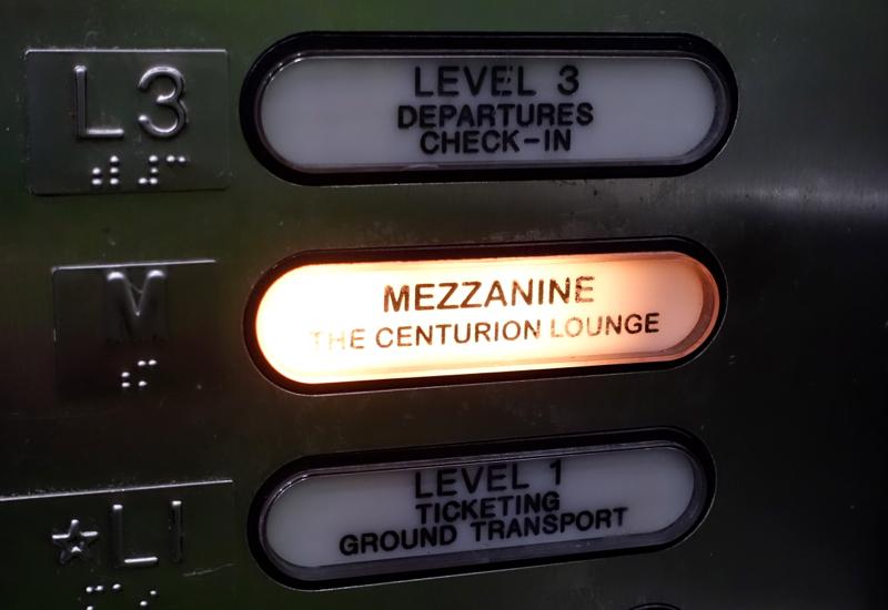 Elevator to Mezzanine, for Centurion Lounge Houston IAH