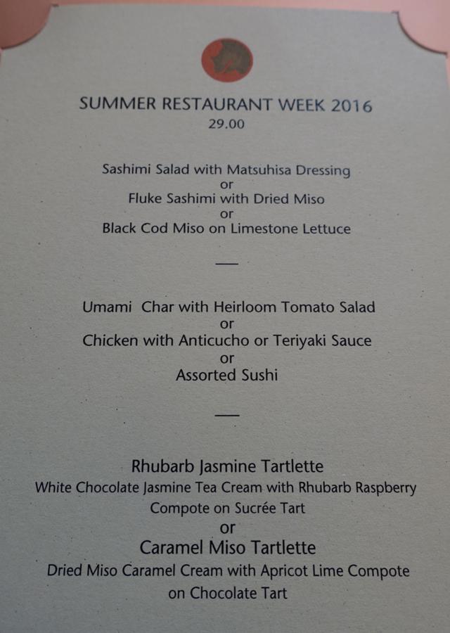 Nobu New York Restaurant Week Menu