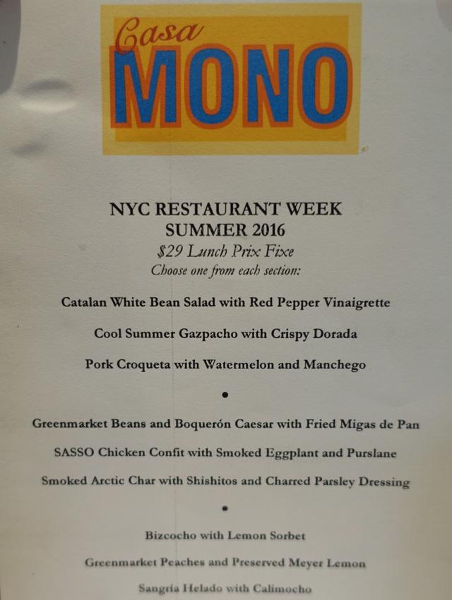 Casa Mono NYC Restaurant Week Menu