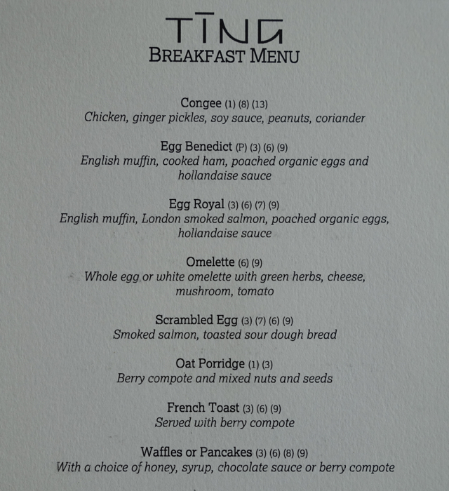 TING a la carte Breakfast Menu