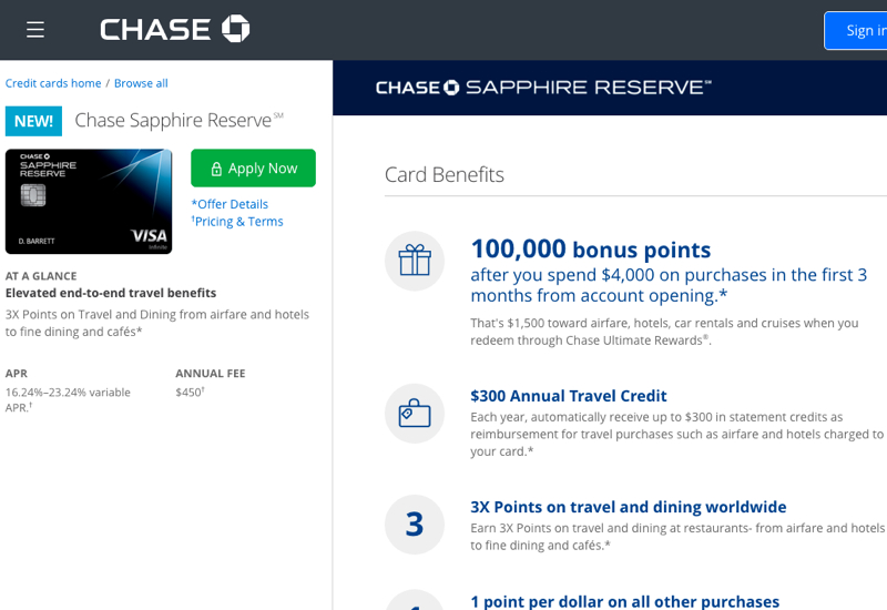 New 100K Chase Sapphire Reserve Card to Launch August 21, 2016