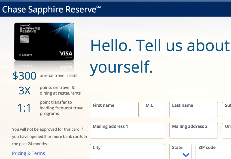 Chase 5/24 Warning on Chase Sapphire Reserve Application