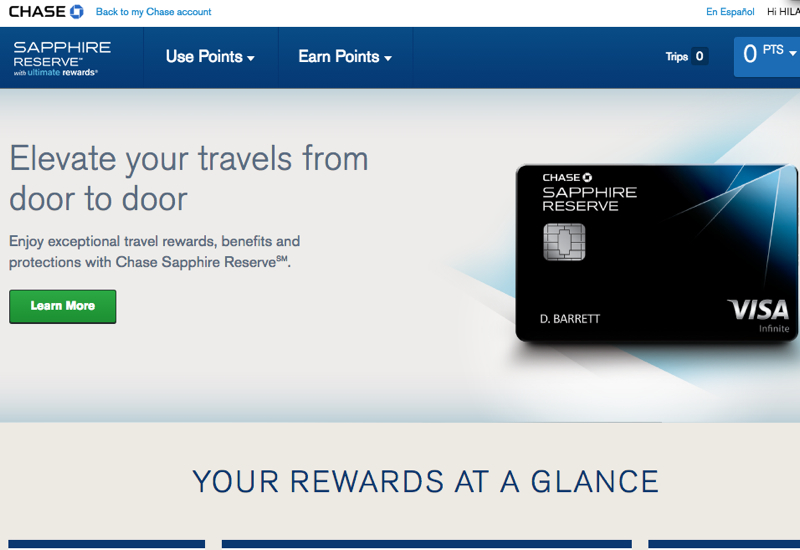 """Chase Sapphire Reserve: Click """"Learn More"""""""