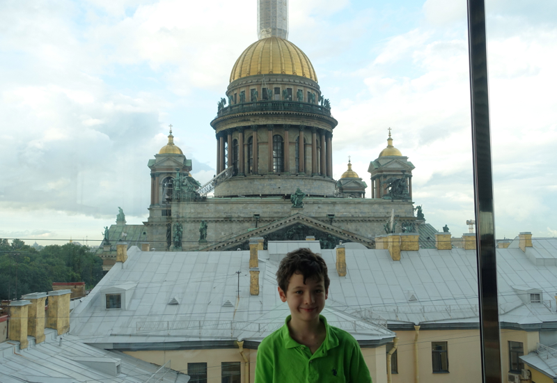 Beautiful View of St. Isaac's Cathedral from Mansarda Restaurant
