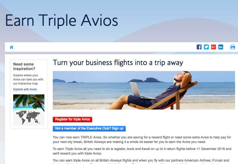 Triple Avios for British Airways, AA, Iberia, Finnair Flights
