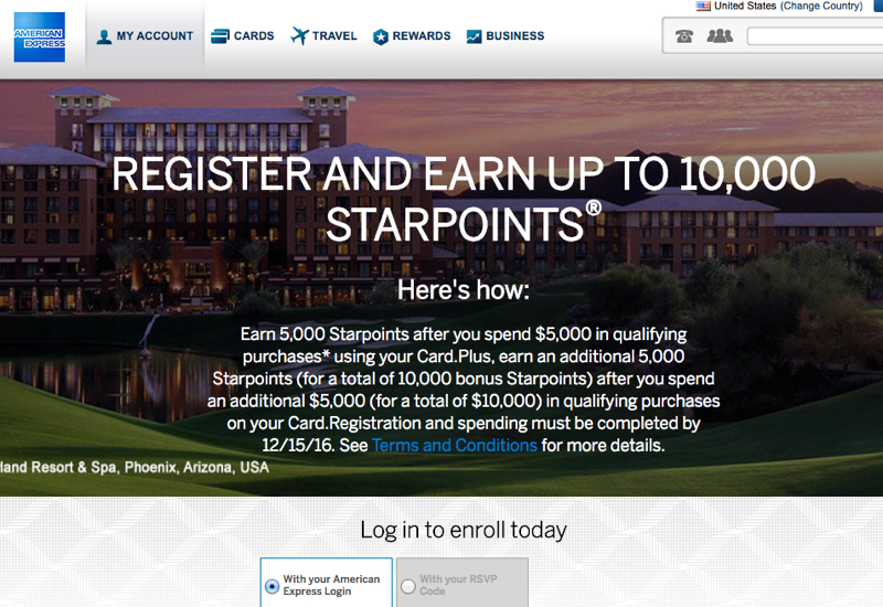 SPG 10K Bonus Offer for Starwood Business AMEX
