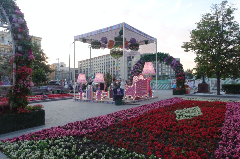 Flowers and Seating, Tverskoy Blvd. and Tverskaya St., Moscow Russia