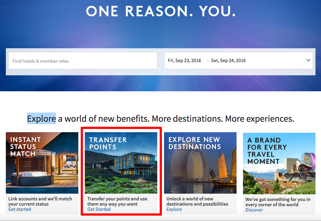 Transfer Marriott Rewards Points to SPG Starpoints