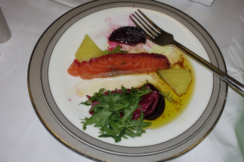 Cured Salmon with Beets Appetizer, Singapore First Class Review