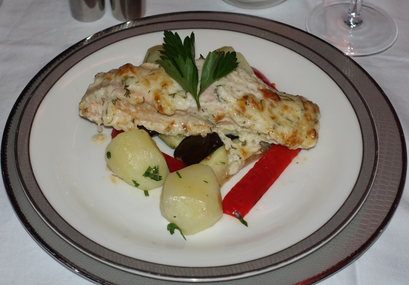 Baked Cheese Herb Crusted Salmon, Singapore First Class Review