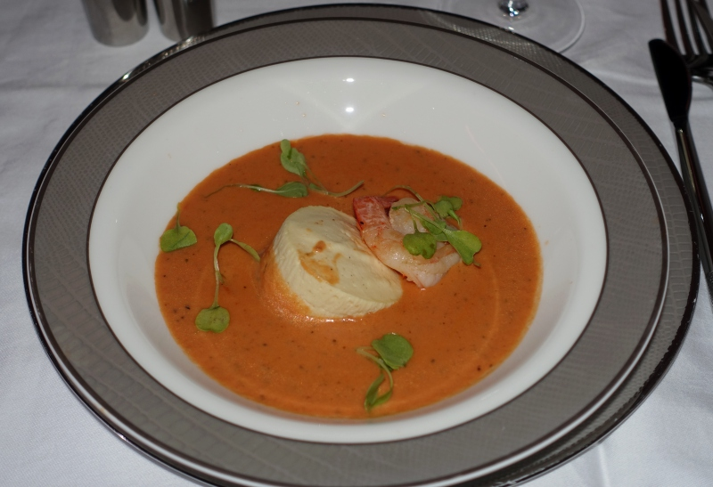 Tomato Soup with Cauliflower Custard and Prawn, Singapore First Class Review