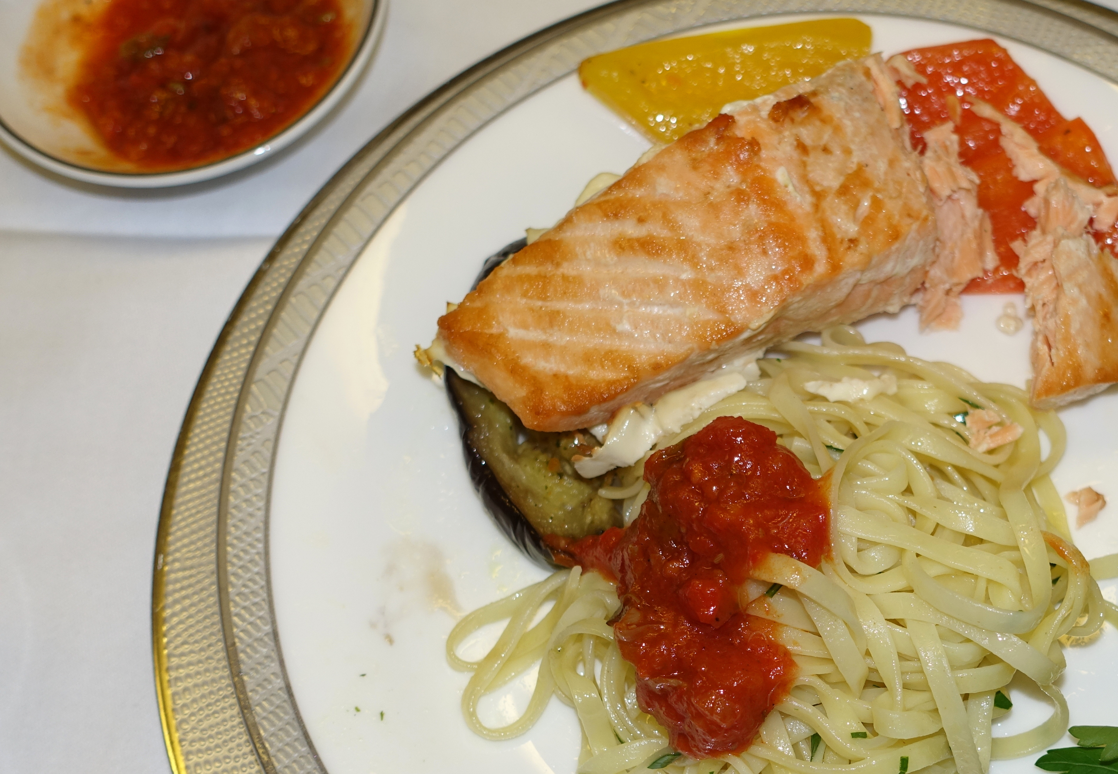 Pan Seared Salmon with Tomato Caper Sauce, Singapore First Class Review