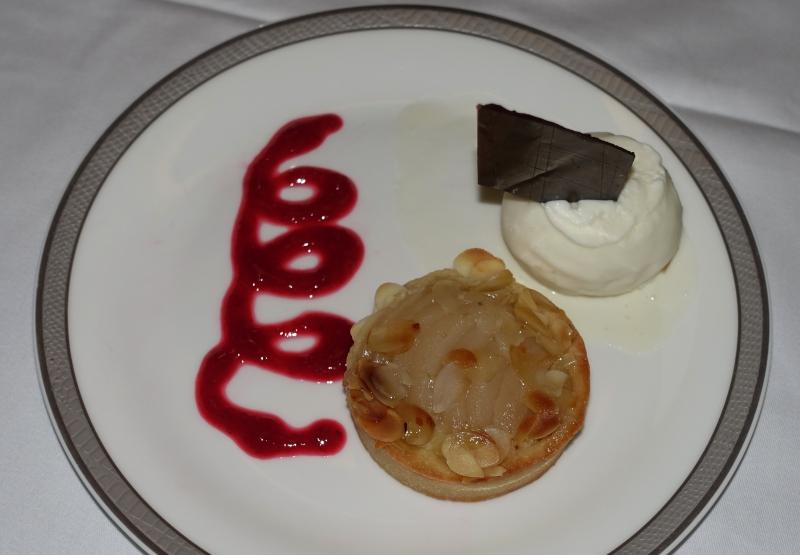 Pear Almond Tart Dessert, Singapore First Class Review