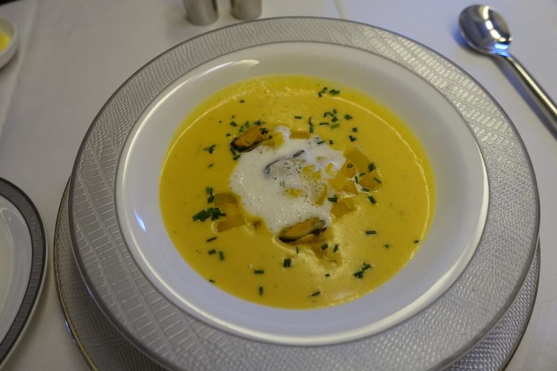 Pumpkin Veloute Soup, Singapore First Class Review