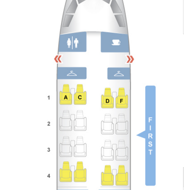 Seat Map: American Old A321 First Class