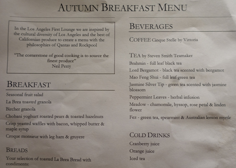 Breakfast Menu-Qantas First Class Lounge LAX Review