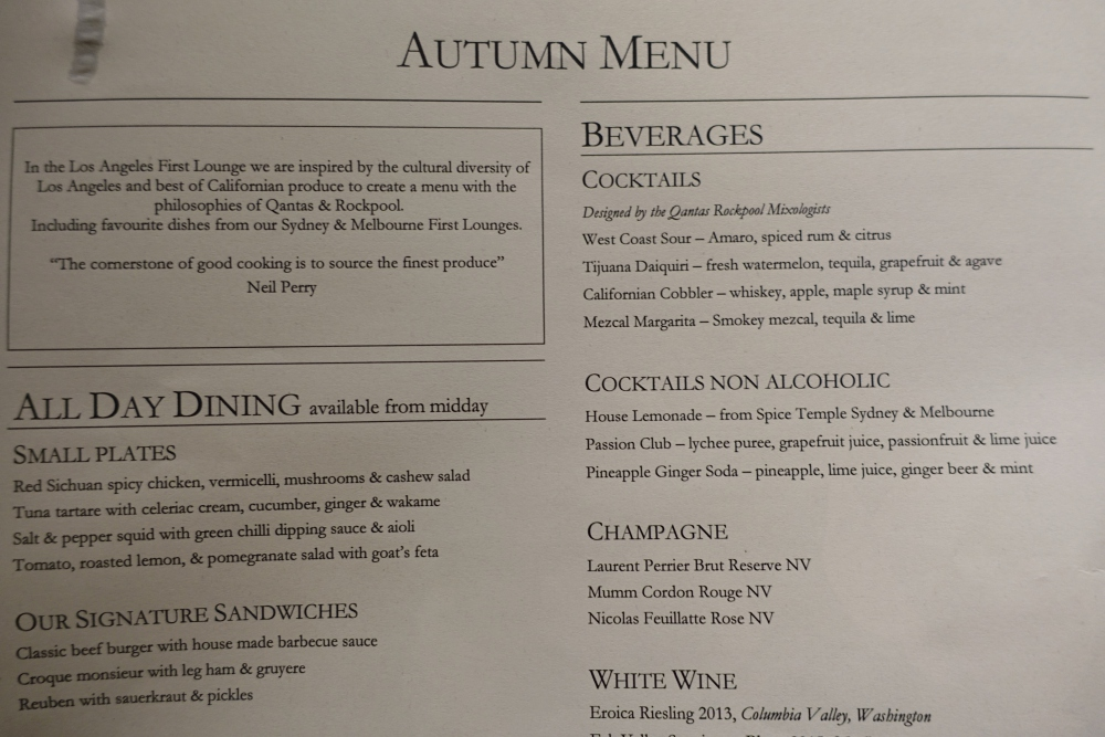 Autumn Menu, Qantas First Class Lounge LAX Review