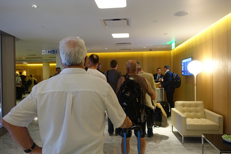 Line to Check-in: Qantas First Class Lounge LAX Review