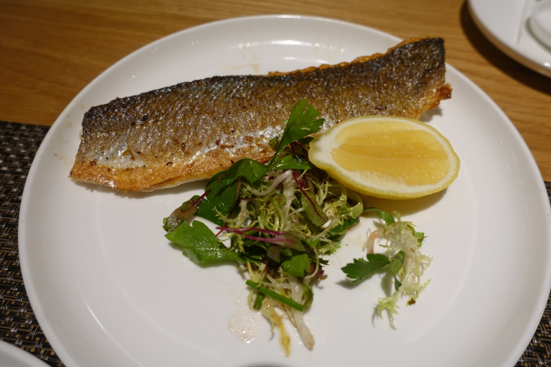 Seared Striped Bass, Qantas First Class Lounge LAX Review