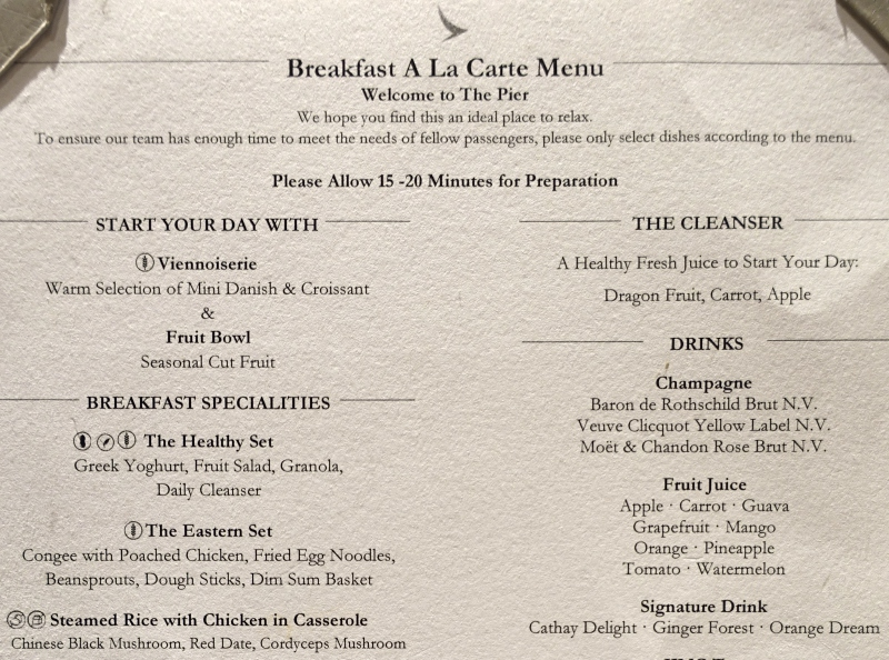 Breakfast Menu, Cathay The Pier First Class Lounge Review HKG